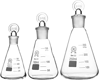 Erlenmeyer Conical Flask with Glass Stopper and Graduation,Borosilicate 3.3 Glass,Lab Glassware,Set of 50ml 150ml 250ml