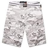 Cargo Shorts for Men with Belt - Mens ECKO Twill Shorts White Camo 32