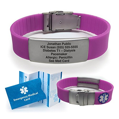 Buy Cheap Silicone Sport Medical Alert ID Bracelet - Purple (Incl. 5 Lines of Custom Engraving). Cho...