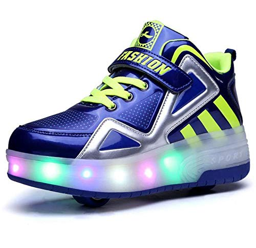 YURU Rollschuhe Schuhe Blinkende Turnschuhe , Mädchen Jungen Rollschuhe Kinder Radschuhe LED Rollschuhe,Black-EU38