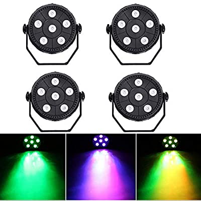4 Pack 6 LED Mini Stage Light Par Light 3 in 1 Sound Activated Mixing Wash Light RGB Par Disco Party Lighting Effect Lamp Up Lighting DJ Stage Lighting for Dance Floor Disco Bar Club Concert Karaoke