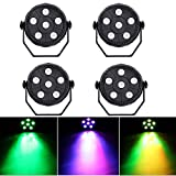 4 Pack 6 LED Mini Stage Light Par Light 3 in 1 Sound Activated Mixing Wash Light RGB Par Disco Party Lighting Effect Lamp Up Lighting DJ Stage Lighting for Dance Floor Disco Bar Club Concert Karaoke
