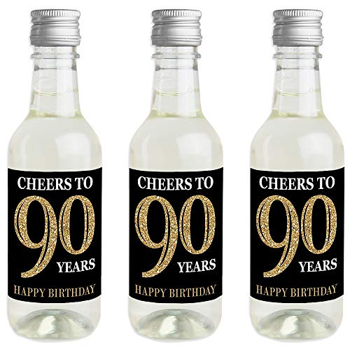 Cheers to 90 Years! Mini Champagne Bottle Label Stickers