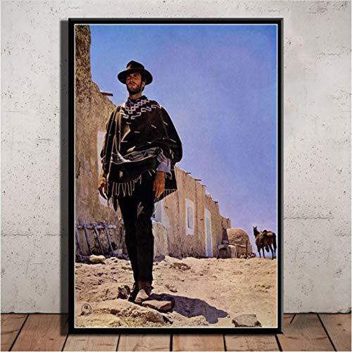 SLFWCLH Póster de película Clint Eastwood Un puñado de dólares Lienzo Pintura Carteles e Impresiones Cuadro de Arte de Pared decoración del hogar 40 × 60 cm sin Marco
