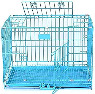 RvPaws Dog Cage Easy to Move with Removable Tray Iron Cage Powder Coated for Dog & Rabbit 36 Inch Sky Blue