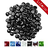 Li Decor 10 Pounds 1/2 Inch Fire Glass Gas Fire Pit Drops Gas Fireplace Glass Fireglass Beads Outdoors Indoors Onyx Black Gloss