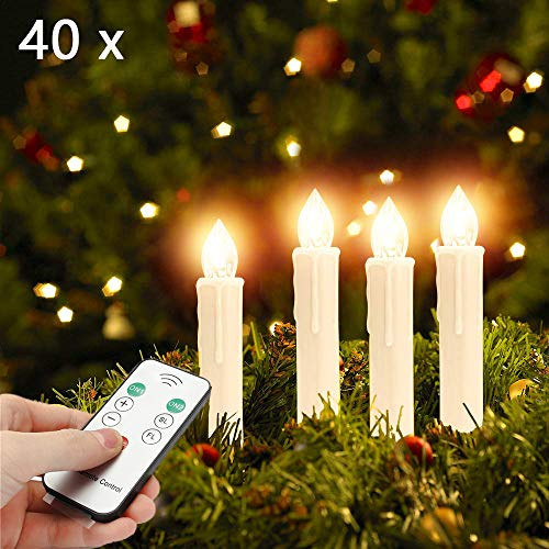 Soontrans Christbaumkerzen Kabellos LED Kerzen Weihnachtsbaum mit Fernbedienung (40er)