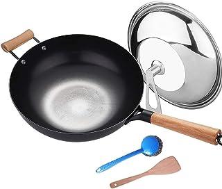 AMAFS Wok pour Wok à Induction Manuel Wok poêle à Frire Non revêtu cuisinière à Induction cuisinière à gaz être Applicable...