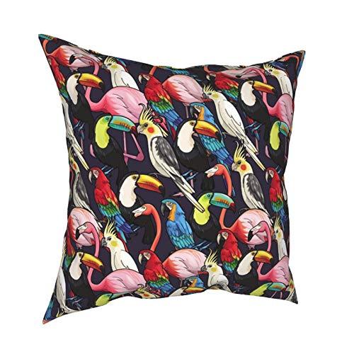 iksrgfvb Throw Pillow Case Fundas de cojín Toucan Macaw Flamingo Fundas de Almohada cuadradas para sofá de Sala de Estar 18 x 18 Pulgadas