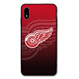iPhone Xs Case iPhone X Case,Hockey Teams Silicone Bumper Frame and PC Back Cover Cases for iPhone X/Xs 5.8' (Red-Wings-DET)