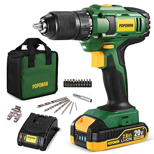 Cordless Drill, 20V MAX 1/2 inch Compact Drill Driver Kit, 2.0Ah Lithium-Ion Battery with Fast Charger, Metal Chuck, 398 In-lbs Torque, 18+1 Position Clutch, 17pcs Drill/Driver Bits