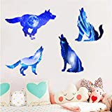 WOCACHI Wall Stickers Decals 3D Blue Starry Wolfs 2 Pcs/Set Wall Stickers with Planets Stars Starry Sky Remov Art Mural Wallpaper Peel & Stick Removable Room Decoration Nursery Decor