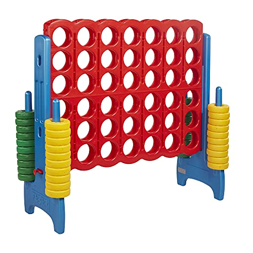 ECR4Kids-ELR-12507 Jumbo 4-to-Score Giant Game Set, Backyard Games for Kids, Jumbo Connect-All-4 Game Set, Indoor or Outdoor Game, Adult and Family Fun Game, Easy to Transport, 4 Feet Tall, Primary Colors