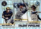 2020 Bowman Chrome Talent Pipeline Trios Refractors #TP-MIL Corey Ray/Jake Gatewood/Brice Turang Milwaukee Brewers Baseball Card