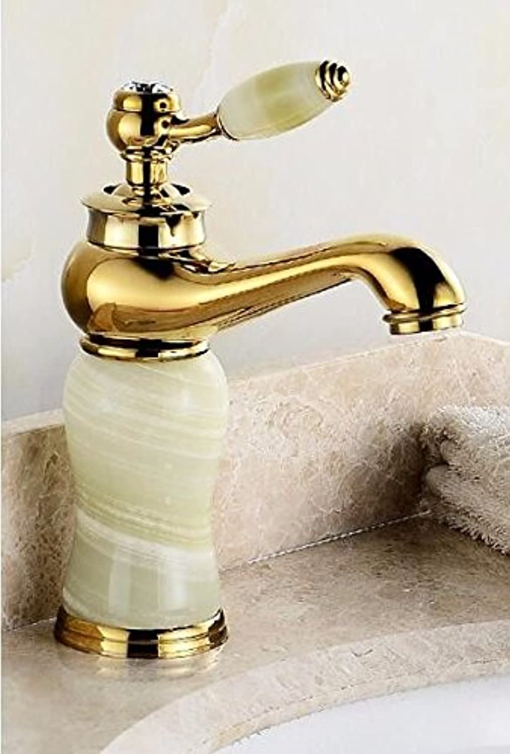 Hlluya Professional Sink Mixer Tap Kitchen Faucet The copper basin faucet hot and cold wash basin mixer lowered basin marble green jade gold faucet,K