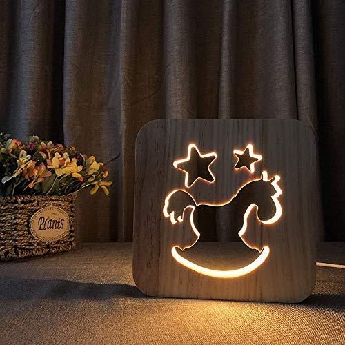 ViewSys Decorativo Tabla Creativa de la lámpara LED 3D de Madera Hueco USB luz de la Noche de Troya Dormitorio del Sitio de niños de cumpleaños de 19 * 19 cm de Escritorio Simple romántica