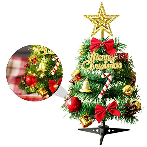 Amosfun Mini Artificial Christmas Trees with Light Christmas Tree Model with Needle Cone Bow and Star Topper for Christmas Holiday Ornament Decorations (Warm Yellow Light)