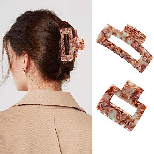 IYOU - Pinza per capelli con taglio francese, in acetato di cellulosa, colore rosa, per donne e ragazze (2 pezzi)