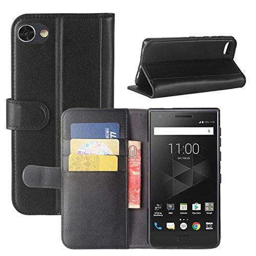HualuBro BlackBerry Motion Hülle, [All Aro& Schutz] Echt Leder Leather Wallet Handy Tasche Schutzhülle Hülle Flip Cover mit Karten Slot für BlackBerry Motion Smartphone (Schwarz)