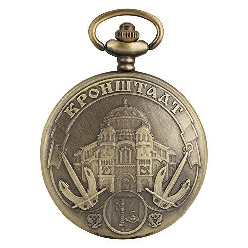 Einzigartige russische Taschenuhr mit Ankerbaumuster für Herren, modisch, großes weißes Zifferblatt, Quarz-Taschenuhren für Frauen, zarte Legierung, Kette und Taschenuhr für Jungen