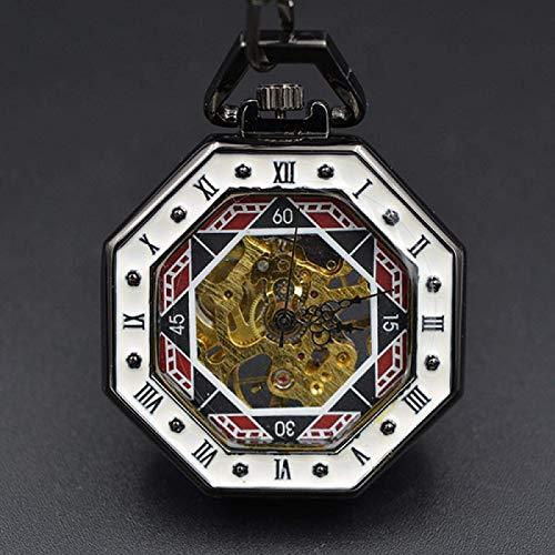 SBDLXY Reloj de Bolsillo con Cadena Retro Número Romano Hexagonal único Reloj de Bolsillo Steampunk Poker Acero Mecánico Herido a Mano Bronce A.