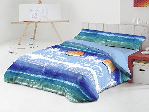 Javier Larrainzar Surf Juego Nórdico 3 Piezas, Algodón-Poliéster, Azul, 37.0x27.0x5 cm