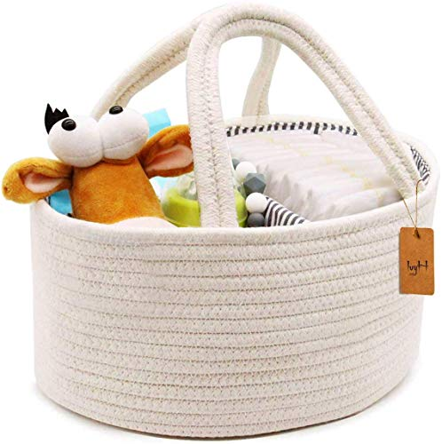 Baby Windel Caddy Veranstalter Baumwolle Aufbewahrungsbeutel für Säuglingskinder Windeltasche für Neugeborene Mama Tragbarer dauerhafter Griff-Vielzweckkorb für Auto-Reise