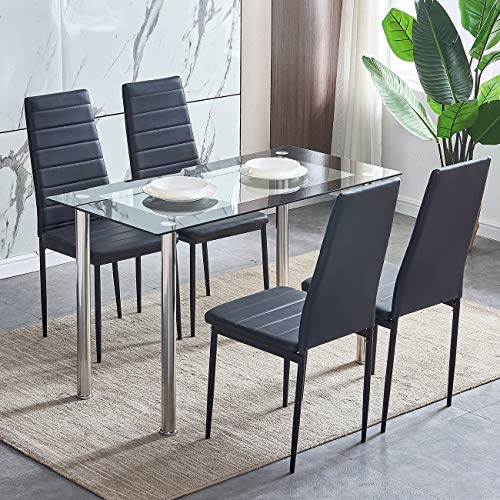 huiseneu Modern Glass Dining Room Table and Chairs Set 4 Black Kitchen Chairs Faux Leather with Rectangular Tempered Glass Table with Chrome Legs for Small Space(1 Table 4 Chairs)