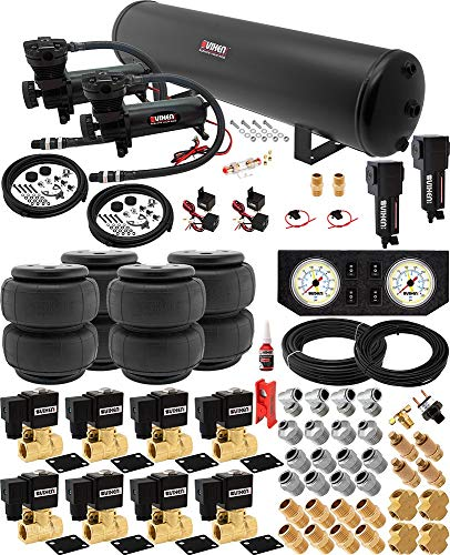 Vixen Air Suspension Kit for Truck/Car Bag/Air Ride/Spring. On Board System- Dual 200psi Compressor, 5 Gallon Tank. for Boat Lift,Towing,Lowering,Load Leveling,Onboard Train Horn VXX1209FW/4852DBF