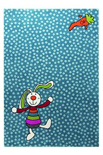 Sigikid Rainbow Rabbit Moderner Markenteppich, Polypropylen, Blau, 225 x 160 x 1.3 cm