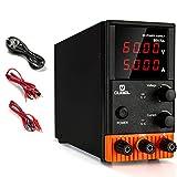 OUBEL Alimentación de Laboratorio Variable, Fuente de Alimentación de DC Regulada (60 V 5 A), con Cables de Cocodrilo, Cable de Alimentación de la EU, 4 Pantallas LED Digitales