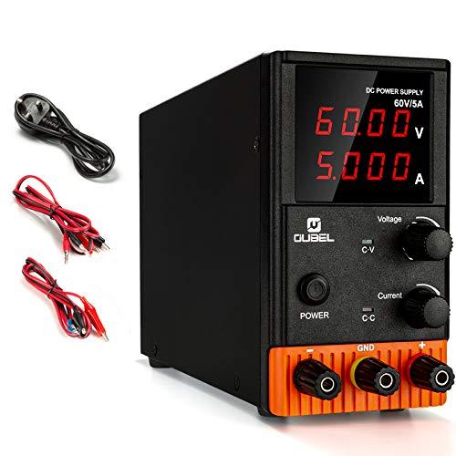 Labornetzteil 0-60V / 0-5A, Regelbar DC-Stromversorgung mit 4-stelliger LED-Anzeige, Alligatorkabeln und Netzkabel (KPS605P)