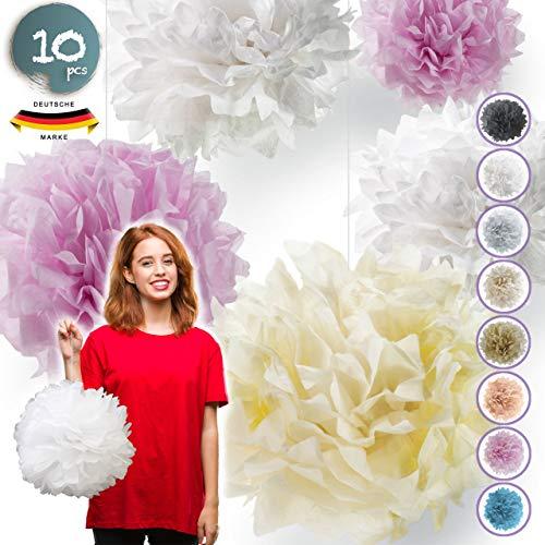Pumpko® Decor 10er Seidenpapier Pompons Deko-Set | Dekoration für Ihre Hochzeit und Party | Rosa Crème Weiß | Inklusive Ponpon PDF Aufbauanleitung