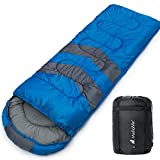 MalloMe Single Camping Sleeping Bag - 3 Season Warm Weather and Winter, Lightweight, Waterproof -...