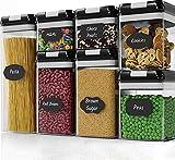 AJun Recipientes para Cereales Almacenamiento de Alimentos,7 Unidades Alimentos Secos Cereales Caja Plástica con Tapa Hermética(1 * 0.5L,2 * 0.8L,2 * 1.2L,1 * 1.9L)
