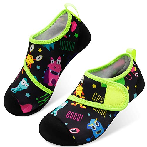 JOINFREE Water Shoes for Boys Girls Kids Aqua Socks Barefoot Quick Dry Swim Shoes Black Frog 2.5-3.5 Little Kids