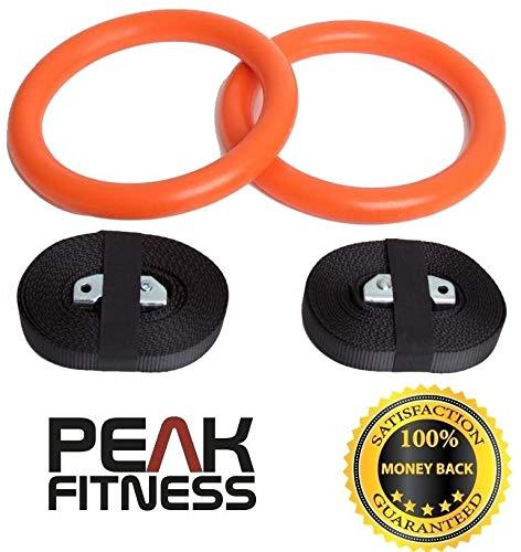 Anelli olimpici da ginnastica Peak Fitness di alta qualità, ottimi per esercizi per la parte superiore del corpo e sollevamento pesi - Colori a scelta.