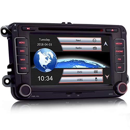 iFreGo 7 Zoll 2 Din Autoradio Für Volkswagen Seat und Skoda,Autoradio Bluetooth GPS Navigation DVD CD RDS DAB+, Radio unterstützt Lenkradsteuerung,Windows CE,Einfach und schnell für die Installation