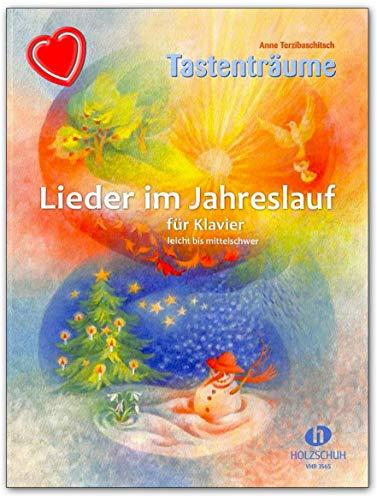 Lieder im Jahreslauf für Klavier - leicht bis mittelschwer - Notenbuch mit bunter herzförmiger Notenklammer - VHR3565 9783864340864