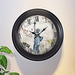 Adeco 14~15 Large Retro Wall Hanging Clock - Antique-Look Dial -Decorative Round Statue of Liberty Iron Clock, Roman Numbers, Silent Battery Quartz, Home Office Decor, Black