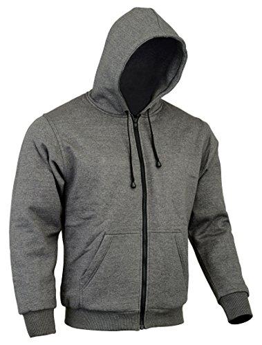 CE Armoured 100% Full Kevlar Ultimate Protection Grey Hoodie Jacket Hoody Fleece (2XL = 48