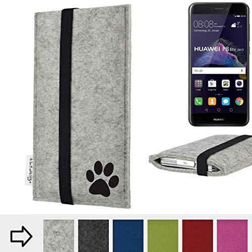 flat.design Handy Hülle Coimbra kompatibel mit Huawei P8 Lite 2017 Dual SIM individualsierbare Handytasche Filz Tasche fair H& Pfote tatze