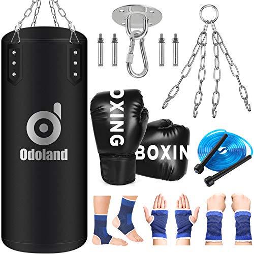 Odoland Boxsack Kinder Ungefülltes Boxsack Set 60cm Kickboxen mit 6oz Boxhandschuhe, Handgelenk Knöchelstütze,Springseil und Stahlkette, Punchingsack für Kinder und Jugendliche Boxtraining Fitness