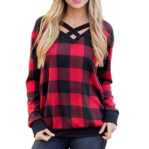 ESAILQ Damen T Shirt Bluse Tank Top Damen Camisole Sommer Lose Weste Schwarz Blau Rosa Große Größe Mode 2018(XL,Rot)