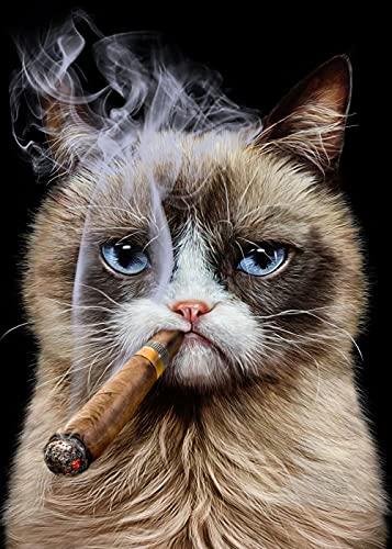 YCHND Cute Cat Smoking Cigar Quadro Wall Art Funny Animal Canvas Quadri Astratta Poster E Stampe per Soggiorno Home Decorazioni 60x90cm Senza Cornice