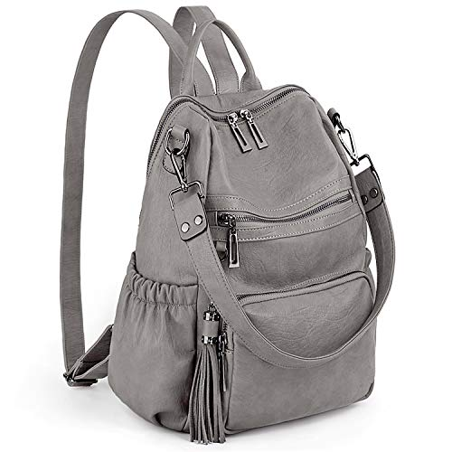 UTO Women Backpack Purse PU Washed Leather Convertible Ladies Rucksack Tassel Zipper Pocket Shoulder Bag Light Grey