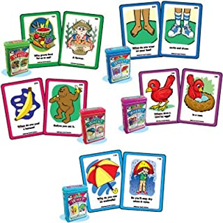 """Super Duper Publications Ask and Answer """"WH"""" Question Five Card Decks Combo Educational Learning Resource for Children"""