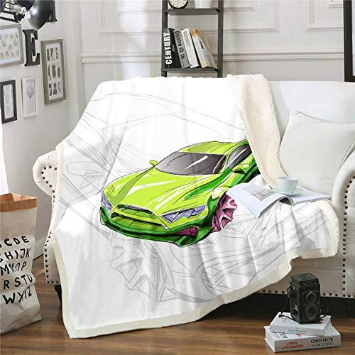 Feelyou Boys Race Sports Car Plush Blanket Extreme Sports Theme Fleece Blanket Modern Green Cartoon Car Sherpa Throw Blanket for Sofa Couch Room Decor Automobile Style Fuzzy Blanket Throw 50'x60'