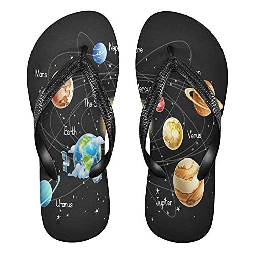 Mnsruu Universe Galaxy Sonnensystem Planet Weltraum Flip Flops Flip Sandalen Home Hausschuhe Hotel Spa Schlafzimmer Reisen XS für Männer Frauen