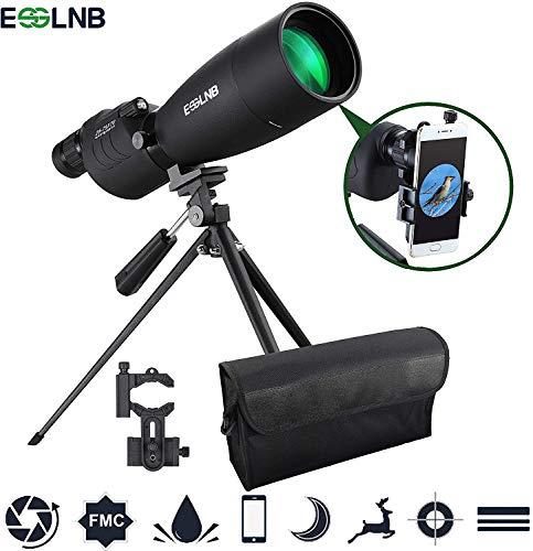 ESSLNB Spektiv 25-75X70 Spektive für Sportschützen Jagd und Vogelbeobachtung Wasserdicht BAK4 mit Handy Adapter Stativ und Rucksack